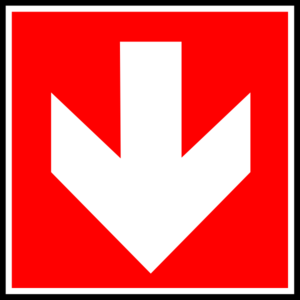 White Arrow With Red Background - Down Clip Art