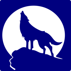 Blue Wolf Silhouette To The Moon Clip Art