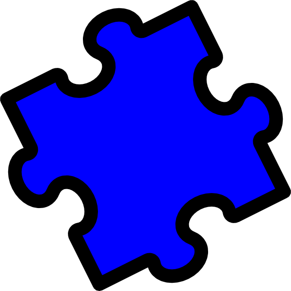 Puzzle piece small. Blue clip art at