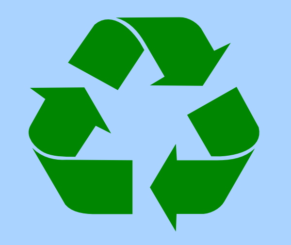 Recycle Symbol Green On Light Blue Clip Art At Clker Vector