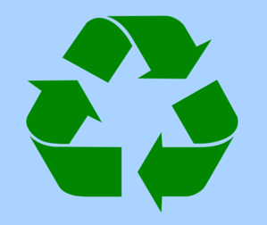 Recycle Symbol Green On Light Blue Clip Art