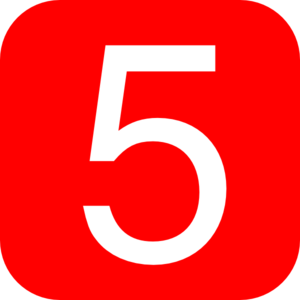 Red, Rounded, Square With Number 5 Clip Art