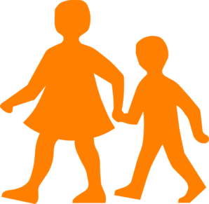 Children Walking Clip Art