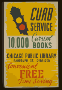 Curb Service 10,000 Current Books - Convenient, Free, Time Saving : Chicago Public Library, Randolph St. Corridor. Clip Art