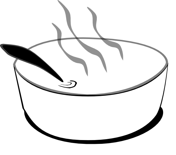 Flying Soup Bowl In Gray Scale Attempt3 Clip Art At