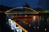 Illuminated By The Albuquerque Bridge, Japanese Volunteers Place Candlelit Lanterns Into The Sasebo River During The City S Annual Obon Festival Clip Art