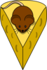 Brown Mouse On Cheese Clip Art