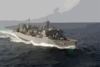 The Fast Combat Support Ship Uss Bridge (aoe 10) Sails Through The Indian Ocean. Clip Art
