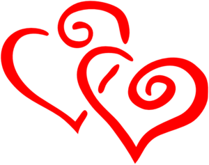 Red Intertwined Hearts Clip Art