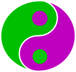 Yin Yang Green Purple Clip Art