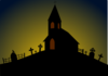 Church With Gravestones Clip Art