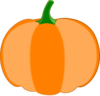 Orange Pumpkin, Green Stem Clip Art