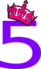 Pink Tilted Tiara And Number 5 Clip Art
