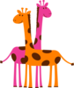 Pink And Orange Giraffes Clip Art