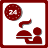 Hotel Icon 24 Hour Room Service Clip Art - Red Clip Art