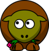 Sheep Olive Green And Brown Two Toned Looking Up To Left Clip Art