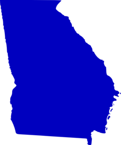 Georgia State Map Outline Solid Clip Art