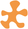 Light Orange Puzzle Piece With White Outline Clip Art