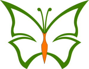 Green And Orange Butterfly Clip Art
