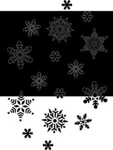 Snowflakes On Black Clip Art