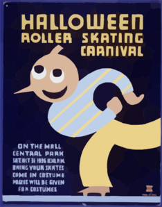 Halloween Roller Skating Carnival On The Mall, Central Park : Bring Your Skates : Come In Costume : Prizes Will Be Given For Costumes. Clip Art