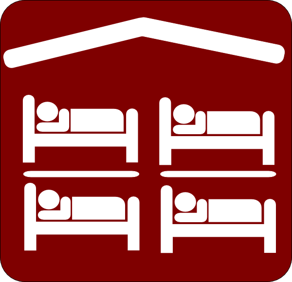 Hotel Motel Sleeping Accomodation Clip Art Red White