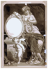 [woman, Seated With Lyre, Thespian S Mask, And Cupid] Clip Art
