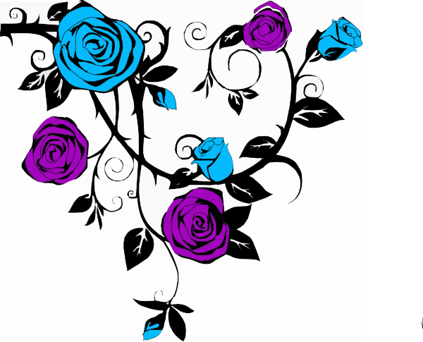 Blue And Purple Rose Clip Art at Clker.com - vector clip ...
