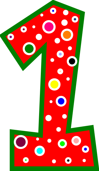 Clipart Number 1 Pink And Green Polkadot 1 on Big Head Stick Figure