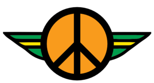 Retro Peace Symbol With Wings  Clip Art