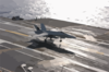 An F/a-18 Hornet Assigned To The Salty Dogs Of Air Test And Evaluation Squadron Two Three (vx-23), Piloted By Lt. Cmdr. Gerald Hanson, Makes The First Trap. Clip Art