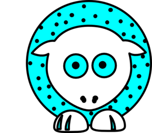 Sheep - Aqua With Black Polka-dots And White Feet Clip Art