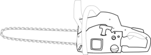 Chainsaw White Outlined Clip Art
