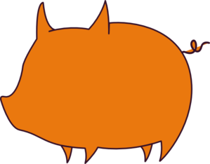 Pig Outline Orange Clip Art at Clker.com - vector clip art online ...