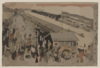 Perspective Print Of The Market On Odawaracho At Nihonbashi In Edo. Clip Art