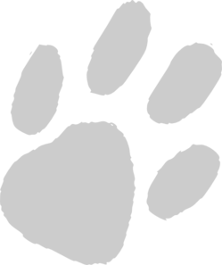 Large Gray Paw Clip Art