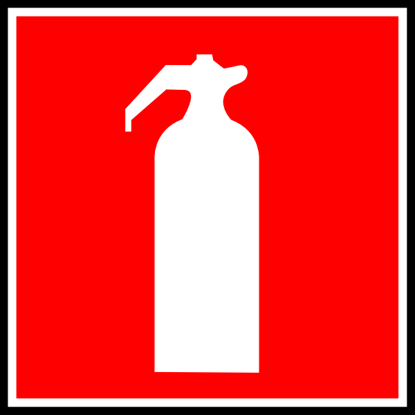 White Fire Extinguisher With Red Background Clip Art At Clker