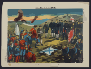 The Severe Battle Of Teh-li-sz And Russian Prisoners Were Questioned By Our Officers -- The Illustration Of The Battls Of Japa And Russia No. 14 Clip Art