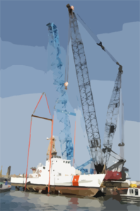 Two Cranes Work In Tandem From A Barge To Lower A U.s. Coast Guard (uscg) Patrol Boat Into The Water. Clip Art
