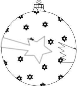 Shooting Star Ornament Outline Clip Art