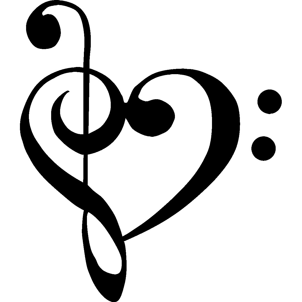 bass clef treble clef heart free images at clker com