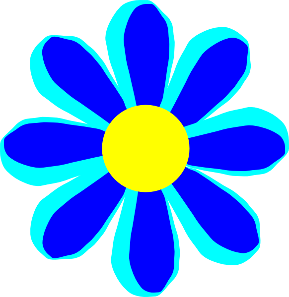 Cartoon Flower Line Drawing : Flower cartoon blue clip art at clker vector