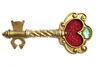 Golden Fantasy Key With Red Glitter Heart Isolated Over White Image