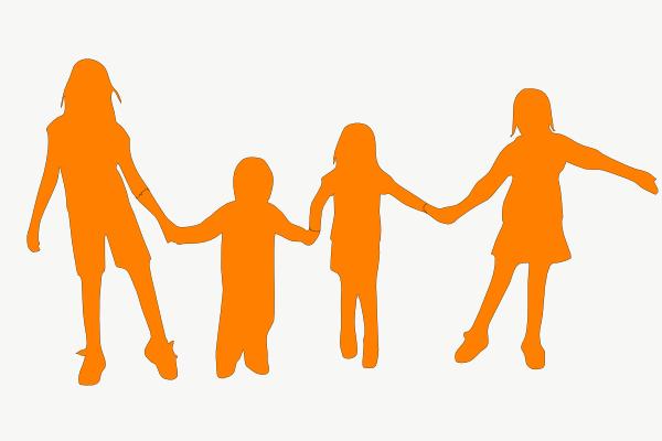 Kids Holding Hands Orange Clip Art At Clker.com