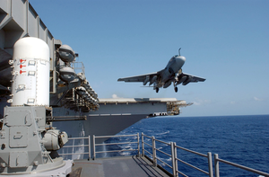 An Ea-6b Prowler Launches From The Flight Deck Aboard Uss Constellation (cv 64) Image