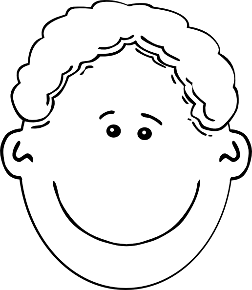 Smiling Boy Face Outline Clip Art at Clker.com - vector ...