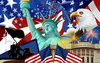 American Flag And Fireworks Clipart Image