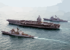 The Guided Missile Cruisers Uss Philippine Sea (cg 58) And Uss Gettysburg (cg 64) Steam Alongside Uss Enterprise (cvn 65). Clip Art