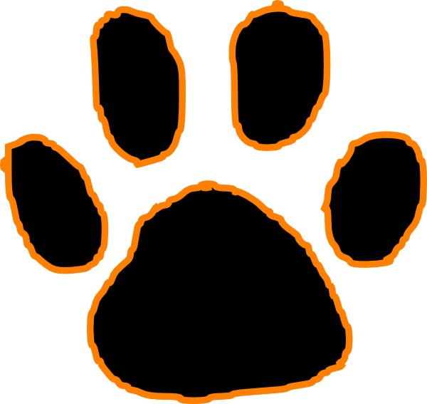 black tiger paw print with orange outline clip art at clker com vector clip art online dog and cat clip art free celebrating dog and cat clip art free celebrating