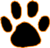 Black Tiger Paw Print With Orange Outline Clip Art